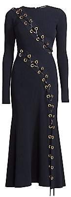 Alexander McQueen Women's Lace-Up Rib-Knit Midi Dress