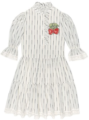 Gucci Kids Striped cotton-blend dress
