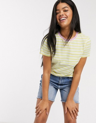 Brave Soul miami ringer striped t-shirt in lemon and pink