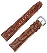 Dakota Women's 64049 Mahogany Croc Grain Genuine Leather Padded Watch Band (12mm, 16mm, 18mm, 20mm)