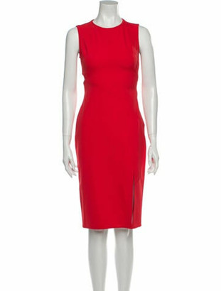 Veronica Beard Crew Neck Knee-Length Dress Red