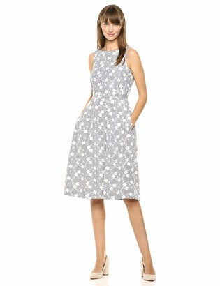 Calvin Klein Women's Sleeveless Fit & Flare Dress with Seamed Waist Band