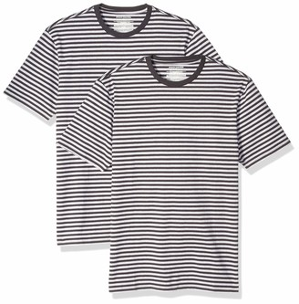 Amazon Essentials Slim-Fit Short-Sleeve Stripe Crewneck T-Shirts Black/Light Gray Heather (Pack of 2) XS