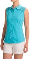 Ojai Lace Yoke Button-Down Shirt - Sleeveless (For Women)
