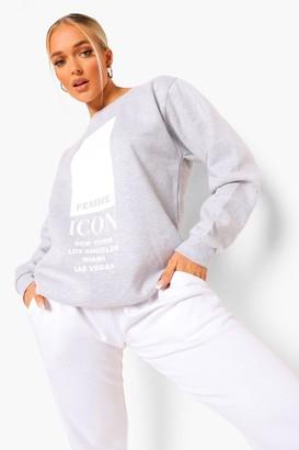 boohoo Petite 'Femme Icon' Oversized Sweatshirt