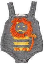 Stella McCartney Sleeveless Mixed-Knit Lion Playsuit, Pale Gray, Size 3-12 Month