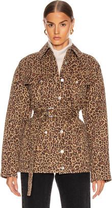 Marissa Webb Ellery Print Anorak Jacket in Khaki Leopard | FWRD