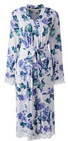 Lands' End Women's Petite Bracelet Sleeve Knee Length Robe-Ivory Floral
