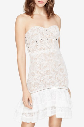 Jonathan Simkhai Multimedia Corded Lace Mini Ruffle Dress