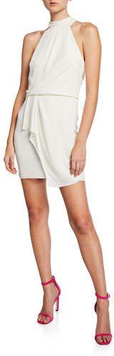 Halston Turtleneck Sleeveless Mini Dress with Drape Front Detail