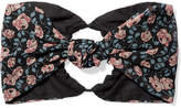 Anna Sui Lilies Of The Valley Knotted Floral-print Silk-chiffon Headband - Black