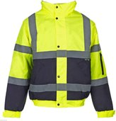 Forever Mens 2 Two Tone Hi Viz Bomber Reflective Waterproof Padded Workwear Jacket