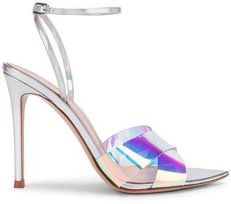 Gianvito Rossi Plexi & Laser Ankle Strap Heels in Hologram & Silver | FWRD