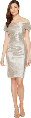 Tahari by Arthur S. Levine Women's Foil Knit Cowl Neck Short Dress