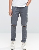 Asos Skinny Jeans With Knee Rips In Grey
