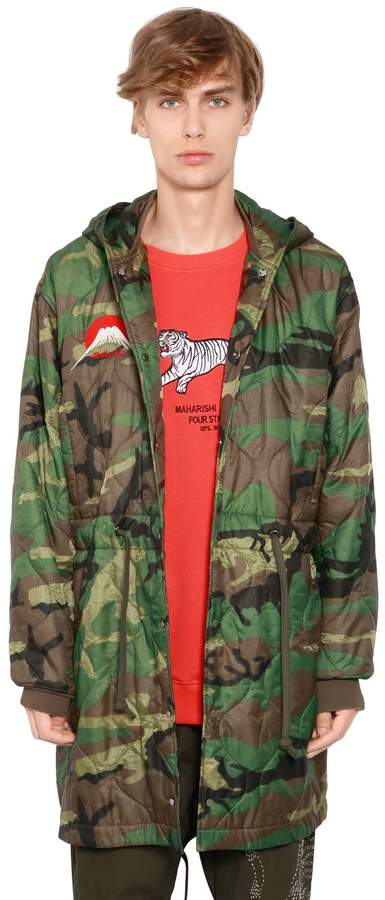MHI Hooded Camo Quilted Nylon Parka