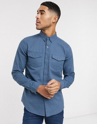 New Look long sleeve double pocket twill shirt in blue