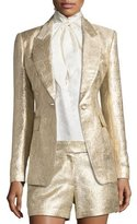 Rachel Zoe Rockefeller Metallic Single-Button Blazer, Gold