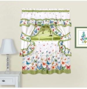 Achim Butterflies Printed Cottage Window Curtain Set, 57x24