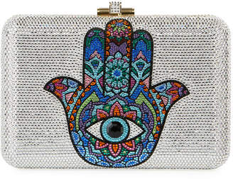 Judith Leiber Couture Slim Slide Hamsa Crystal Clutch Bag