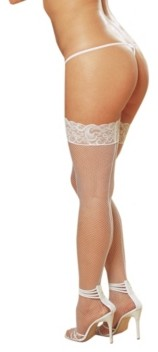 Dreamgirl Plus Size Laced Stay Up Fishnet Thigh High