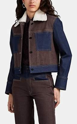 Colovos Women's Sherpa-Lined Crop Denim Jacket