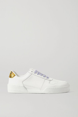 Versace Ilus Printed Leather Sneakers - White