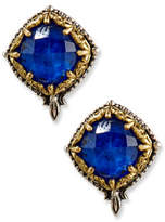 Konstantino Faceted Crystal Quartz Over Lapis Button Earrings