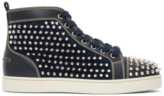 Christian Louboutin Navy Louis Spikes High-Top Sneakers