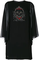 Philipp Plein sequin skull mini dress with sheer sleeves - women - Polyester - M
