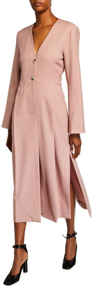 Nina Ricci Long-Sleeve Seamed Wool Dress