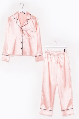 Nasty Gal Womens Candy Coated Button-Down Satin Pajama Set - Champagne