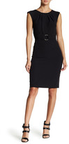 Tahari Neck Ruched Sheath Dress