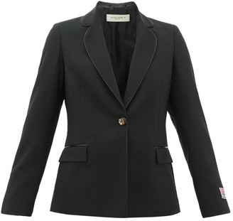 Golden Goose Venice Logo-patch Single-breasted Wool Blazer - Womens - Black