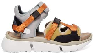 Chloé Sonnie Raised Sole Mesh And Suede Trainer Sandals - Womens - Grey Multi