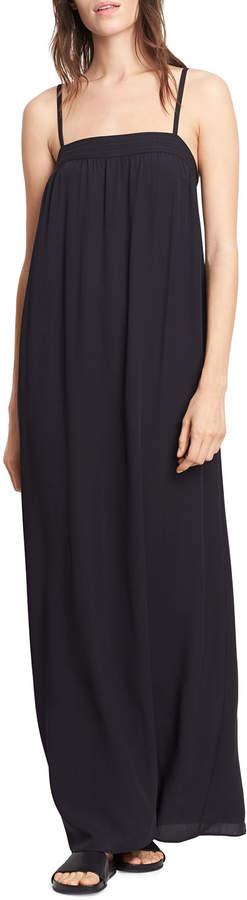 Vince Embroidered Silk Dress Black