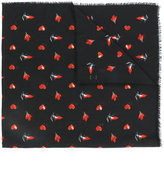 Saint Laurent red heart, lightning bolt and flame print scarf - women - Wool - One Size