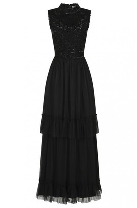 Frock and Frill Faith Black Tiered Skirt Embellished Dress