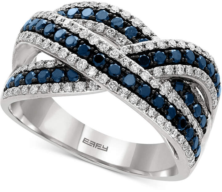Effy Blue and White Diamond Ring (1 ct. t.w.) in 14k White Gold