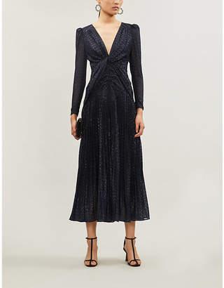 Self-Portrait Long-sleeved fil coupé dress