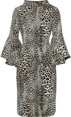 Badgley Mischka Leopard-print Crepe Dress