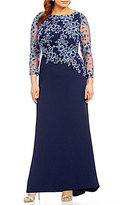Tadashi Shoji Plus Long Sleeve Embroidered-Bodice Gown