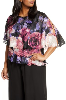 Alex Evenings Floral Print Tiered Chiffon Blouse