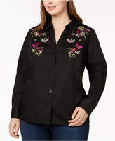 INC International Concepts I.n.c. Plus Size Embroidered Shirt, Created for Macy's