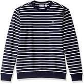 Lacoste Men's Crewneck Stripe Fleece Sweater