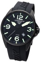 Torgoen Swiss T10301 Men's 45mm Aviation Watch with Black IP Case, Black Dial and Black PU Strap