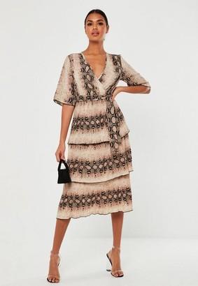 Missguided Stone Snake Print Pleated Ruffle Midi Dress