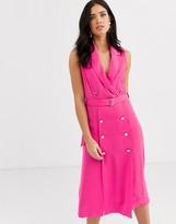 Liquorish double breasted blazer midi dress in pink