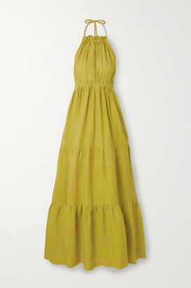 Marios Schwab On The Island By Molakai Tiered Linen Halterneck Maxi Dress - Chartreuse