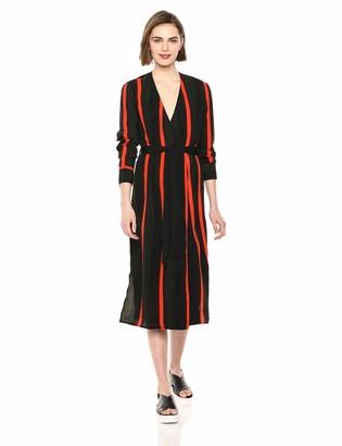 ASTR the Label Women's Long Sleeve Tie Front Wrap Midi Dress